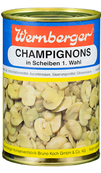 Champignons 1. Wahl in Scheiben Zutaten: Champignons, Wasser, Speisesalz, Antioxidationsmittel: Ascorbinsäure, Säuerungsmittel: Citronensäure