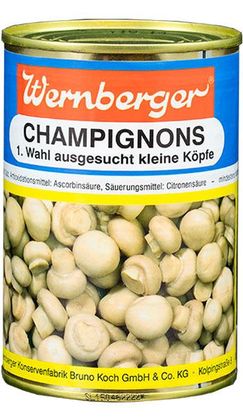 Champignons kleine Köpfe in der Dose. Zutaten: Champignons, Wasser, Speisesalz, Antioxidationsmittel: Ascorbinsäure, Säuerungsmittel: Citronensäure